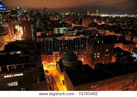New York's East Village Skyline At Night