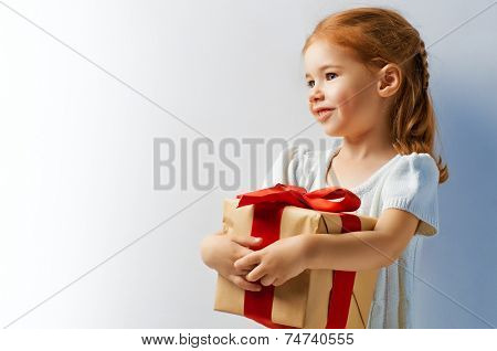 beauty child with Christmas gift