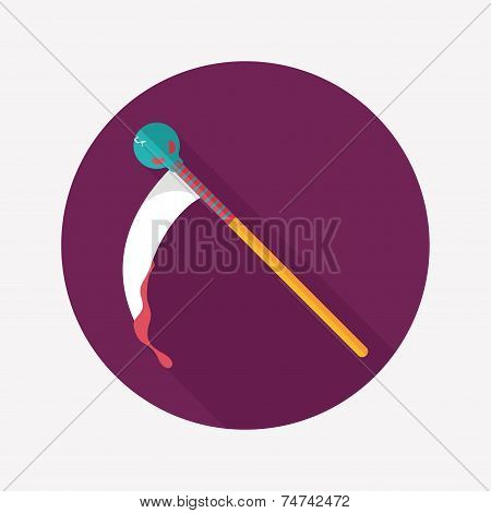 Halloween Scythe Flat Icon With Long Shadow,eps10