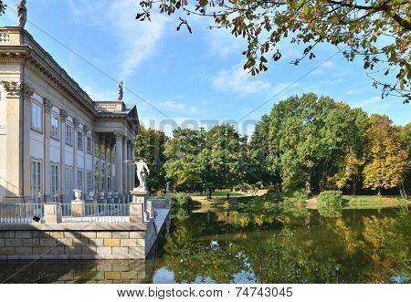 Royal Palace in Lazienki in Warsaw. North facade view. Autumn season time.