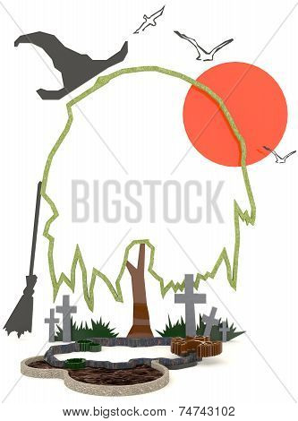 3D Halloween Background Decoration In Haunting Graveyard