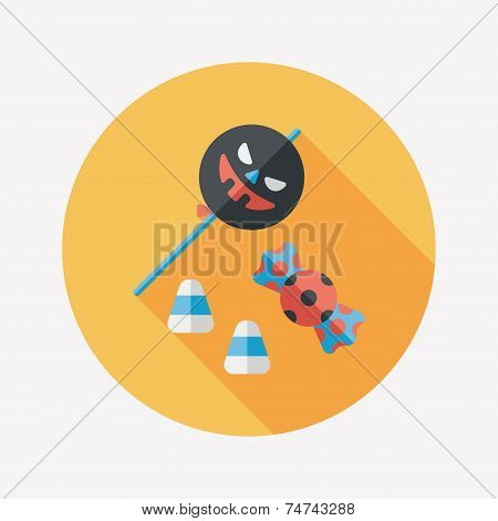 Halloween Candy Flat Icon With Long Shadow,eps10