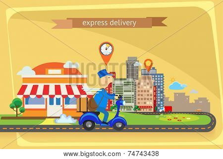 Express delivery, flat design