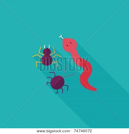 Reptiles Flat Icon With Long Shadow