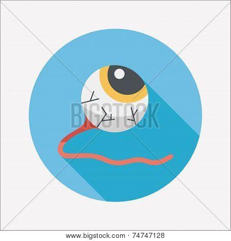 Halloween Eyeball Flat Icon With Long Shadow,eps10