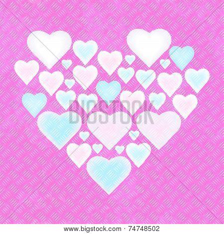 Seamless painted metal plate - composed heart on generated diamond metalplate texture