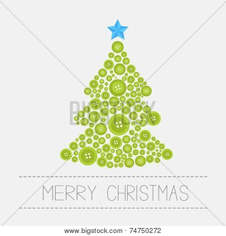 Christmas Tree From Green Buttons. Merry Christmas Card. Isolated Flat Design