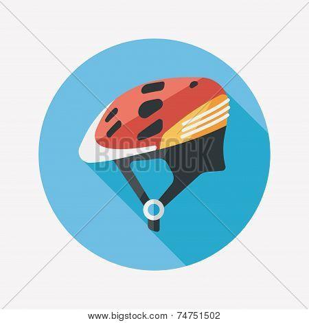 Bike Helmet Flat Icon With Long Shadow,eps10