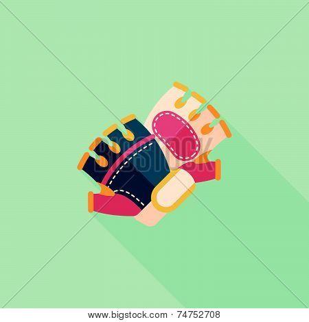 Cycling Gloves Flat Icon With Long Shadow,eps10