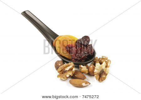 Cranberries And Apricots On A Spoon