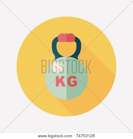 Kettle bells Flat Icon With Long Shadow,eps10