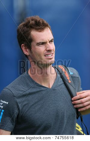 Grand Slam Champion Andy Murray after practice for US Open 2014