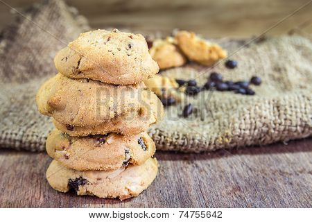 Cookie On Wood Background