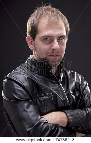 Portrait of a man with leather jacket