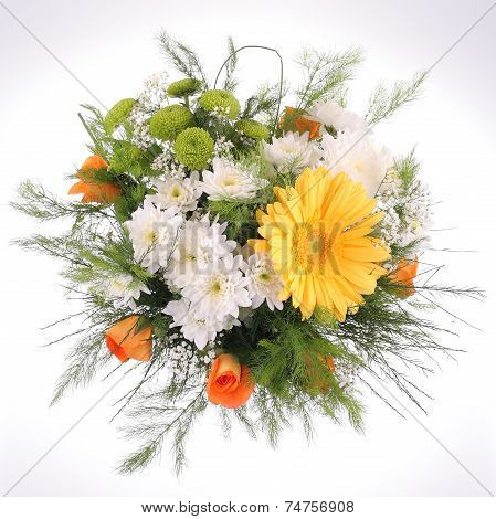 Bright bouquet, close-up. Daisy and Gerbera flowers