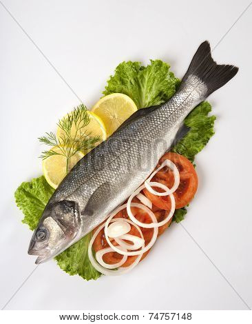 Freshly Bass Fish with vegetables