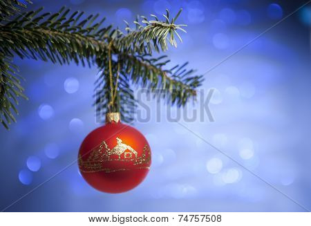 Beautiful red cristmas toy with handmade decoration