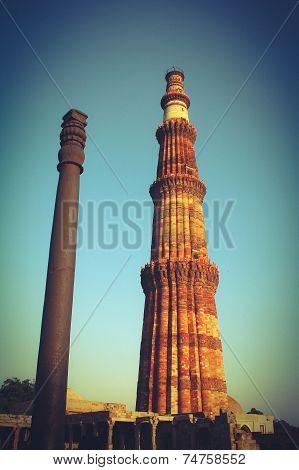 Qutub Minar With Iron Pillar