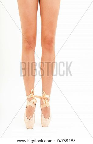Beautiful woman legs with pink tiptoe