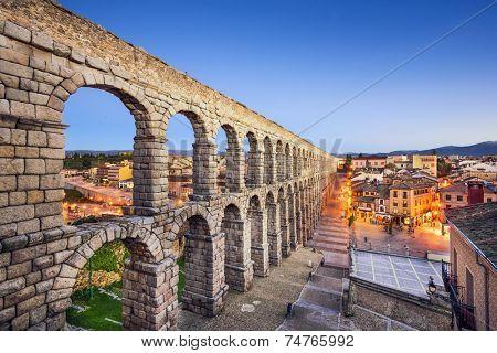Segovia, Spain at the ancient Roman aqueduct.