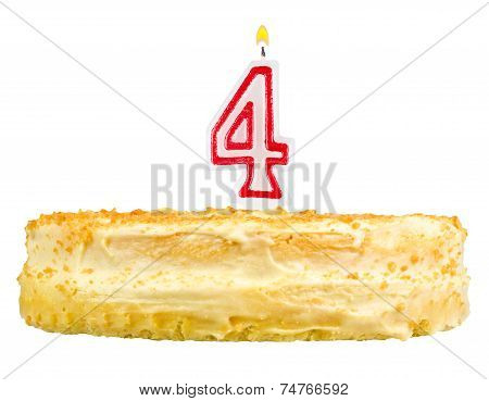 Birthday Cake Number Four Isolated On White