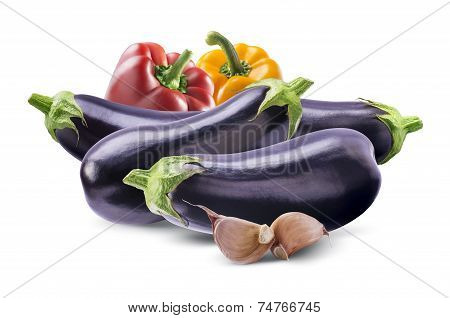 Aubergines, Bell Peppers And Garlic Composition Isolated On White