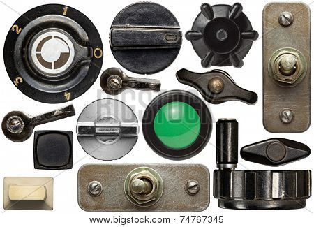 Various old device knobs, handles, buttons,switches