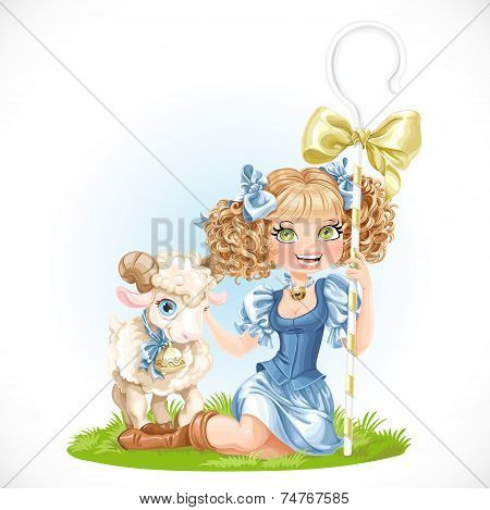 Cute Shepherdess With Lamb Sit On Green Grass