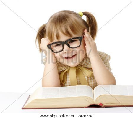 Happy Little Girl With Book Wearing Black Glasses