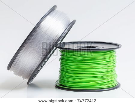 Filament For 3D Printer Crystal Clear And Bright Green Against A Bright Background