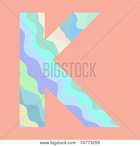 The letter K. Element of alphabet