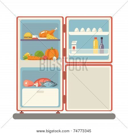 outdoor refrigerator with food products icon trendy flat design vector illustration