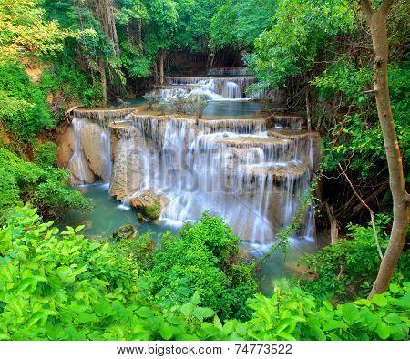 Huay Mae Khamin, Paradise Waterfall Located In Deep Forest Of Thailand. Huay Mae Khamin - Waterfall