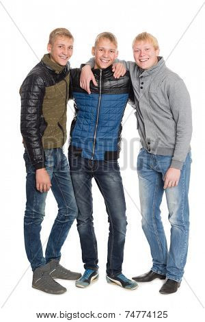 Group portrait of friends in full length. Two of the boys twin brothers