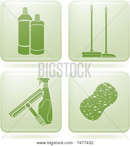 Olivine Square 2D Icons Set: Cleaning