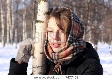 Russian girl near birch
