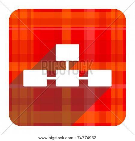 database red flat icon isolated
