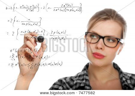 Blonde Student Girl Drawing A Mathematical Formula
