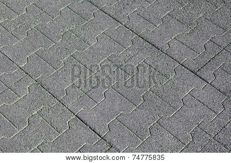 Rubber Tiles On Floor Closeup