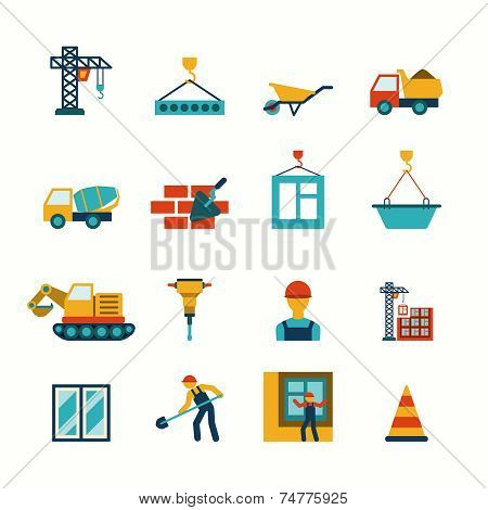 Construction flat icons set