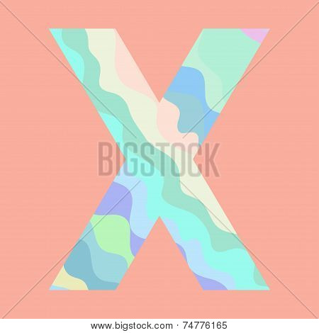 The letter X. Element of alphabet