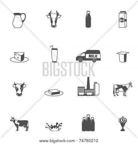 Milk Black Icons Set