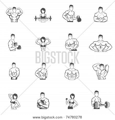 Bodybuilding fitness gym icons black