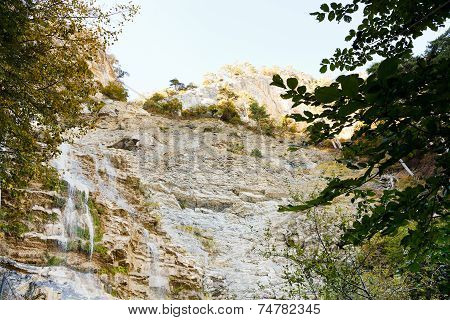 Waterfall Uchan-su In Crimean Mountain In Autumn
