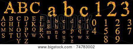 Concept conceptual red burning fire fonts isolated on black background. It is a set, group or collection letters in yellow orange flames