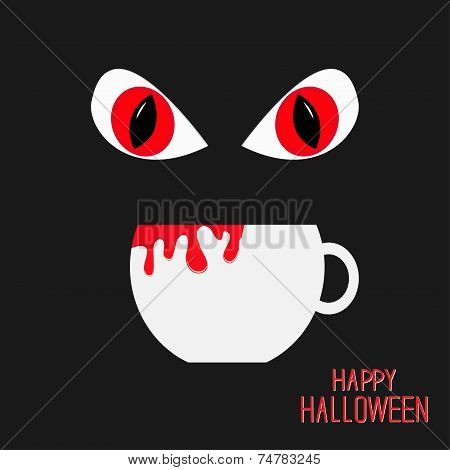 Evil Red Eyesand Cup With Blood In Dark Night. Happy Halloween Card. Flat Design