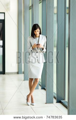 beautiful young indian career woman using cell phone