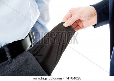 Business man's empty pocket in trousers