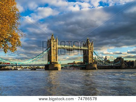 Tower Bridge With Autumn Leaves