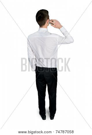 Back view of business man talk on phone